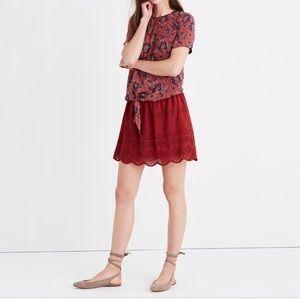 Madewell Red Eyelet Skirt